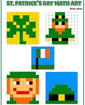 St. Patrick's Day Math Art - 2 Versions - Fractions, Decimals and/or Percents
