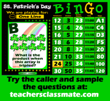 St. Patrick's Day Math Bingo