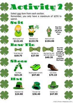 St. Patrick's Day Math Activities Budgeting
