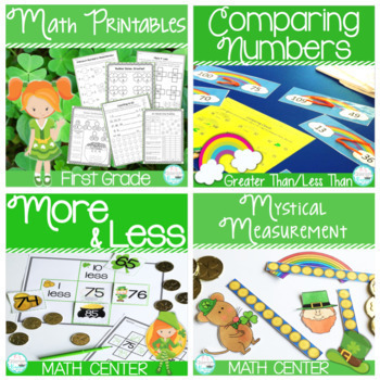 First Grade St. Patrick's Day Math Center Bundle