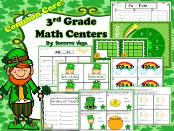 St. Patrick's Day Math Center: Third Grade!!