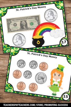 Counting Money Task Cards, St. Patrick's Day Math Games, Dollars and Coins