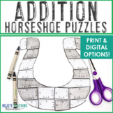 ADDITION Horseshoe St Patricks Day Math Craftivity, Activity, or FUN Math Game