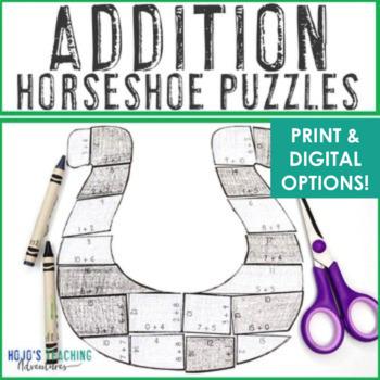 ADDITION Horseshoe St Patricks Day Math Craftivity, Activity, or FUN Math Game