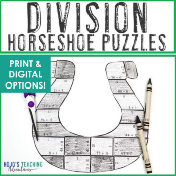 St Patricks Day Math Centers | St Patricks Day Math Game Division Horseshoes