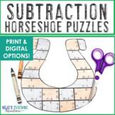 SUBTRACTION Horseshoe St Patricks Day Math Centers, Games,