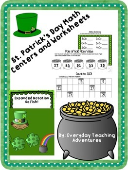 St. Patrick's Day Math Centers and Worksheets