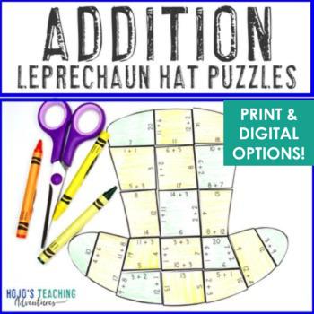 St Patricks Day Math Centers or Games | Addition Leprechaun Hat Puzzles