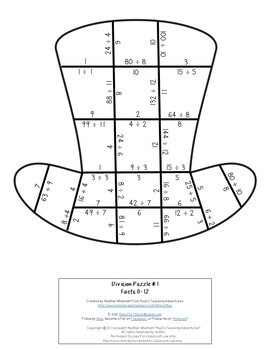 St Patricks Day Math Centers or Games | Division Leprechaun Hat Puzzles