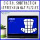 St Patricks Day Math Centers or Games | Subtraction Leprechaun Hat Puzzles