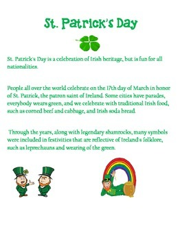 St. Patrick's Day-Percents, Decimals, Fractions