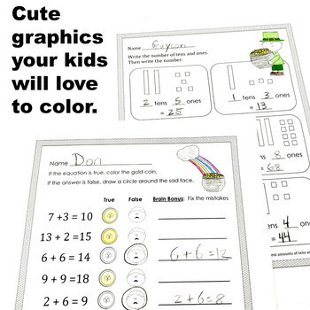 March St. Patrick's Day Math CCSS First Grade Just Print It (Common Core)