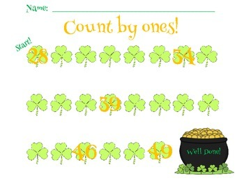 St. Patrick's Day Math:  Counting by 1's to 100