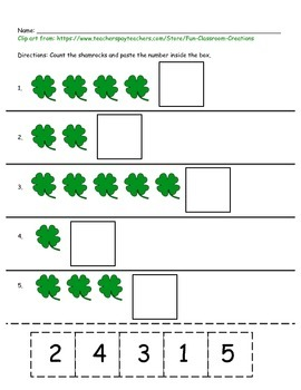 St. Patrick's Day Math Cut and Paste Worksheets