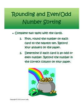 St. Patrick's Day Math Even, Odd, and Rounding Center