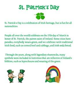 St. Patrick's Day Math Flash Cards
