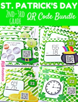 St. Patrick's Day Math Fun QR Code Task Card Bundle (2nd-3rd grade)