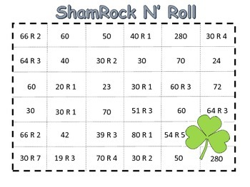 St. Patrick's Day Division Math Game
