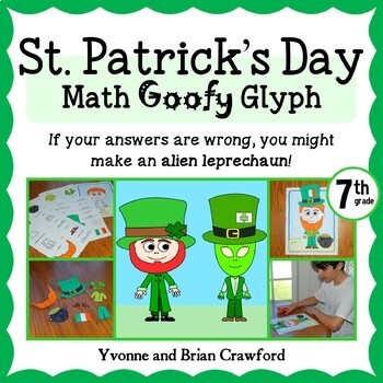 St. Patrick's Day Math Goofy Glyph (7th grade Common Core)