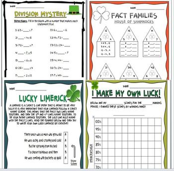 St. Patrick's Day Math, Literacy, and Other Fun Activities!