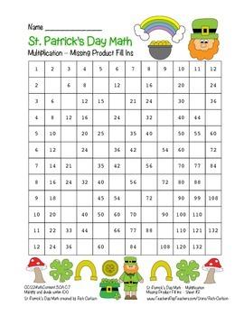 """St. Patrick's Day Math"" Multiplication Fill Ins #2 Hard (blackline&color)"