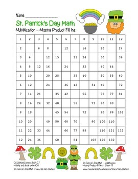 """St. Patrick's Day Math"" Multiplication Fill Ins #2 Hard ("