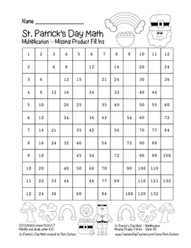 """St. Patrick's Day Math"" Multiplication Product Fill Ins # 2 Hard (black line)"