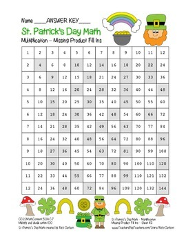 """""""St. Patrick's Day Math"""" Multiplication Product Fill Ins #2 Hard  (color)"""