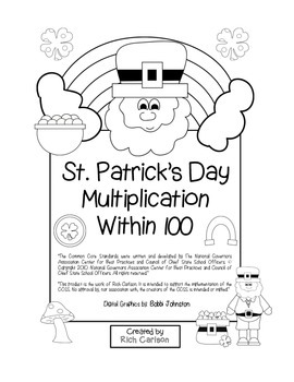 """St. Patrick's Day Math"" Multiplication Within 100 - Common Core  (black line)"