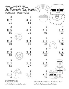 """""""St. Patrick's Day Math"""" Multiplication Within 100 - Common Core  (black line)"""