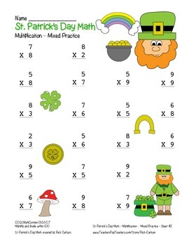 """""""St. Patrick's Day Math"""" Multiplication Within 100 - Common Core (color)"""