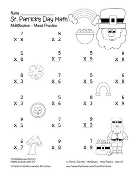 """St. Patrick's Day Math"" Multiplication Within 100 Common Core (color&blackline)"