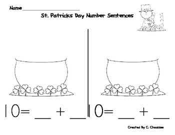 St. Patrick's Day Math Number Decomposition