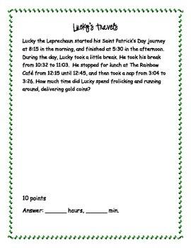 St. Patrick's Day Math Olympics I