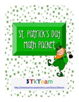 St. Patricks Day Math Packet K-1