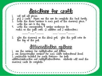 St. Patrick's Day Math-Pot of Gold Fact Family Craft & Math Center