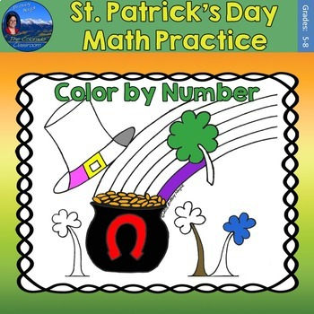 St. Patrick's Day Math Practice Color by Number Grades 5-8