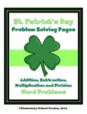 St. Patrick's Day Math Problem Solving Sheets - Word Problems