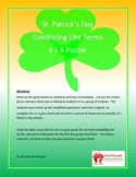 St. Patrick's Day Math Puzzle - Combining Like Terms