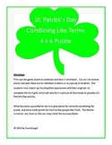 St. Patrick's Day Math Puzzle - Combining Like Terms (Hard Copies)