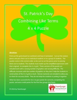 St. Patrick's Day Math Puzzle - Combining Like Terms with