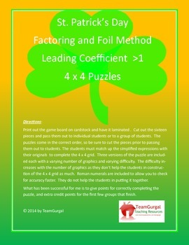 St. Patrick's Day Math Puzzle - Factoring and FOIL Method (A is greater than 1)