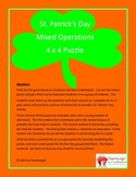 St. Patrick's Day Math Puzzle - Mixed Operations (Add,Subtract,Multiply,Divide)
