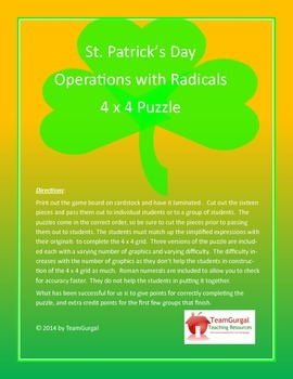 St. Patrick's Day Math Puzzle - Mixed Operations with Radicals