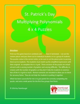 St. Patrick's Day Math Puzzle - Multiplication of Polynomials