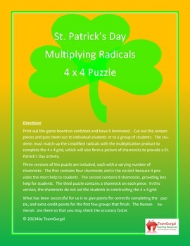 St. Patrick's Day Math Puzzle - Multiplying Radicals