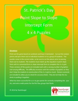 St. Patrick's Day Math Puzzle - Point Slope Form to Slope Intercept Form
