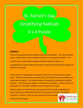 St. Patrick's Day Math Puzzle - Simplifying Radicals