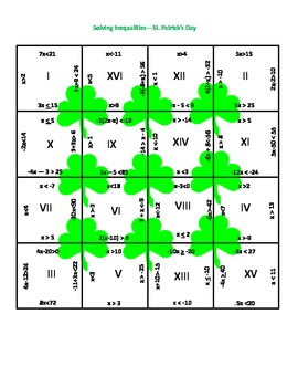 St. Patrick's Day Math Puzzle - Solving Inequalities