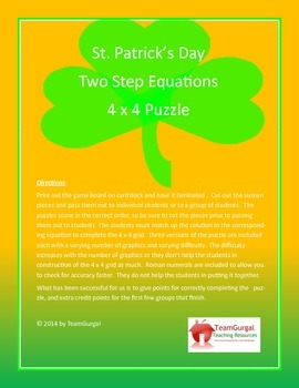 St. Patrick's Day Math Puzzle - Two Step Equations